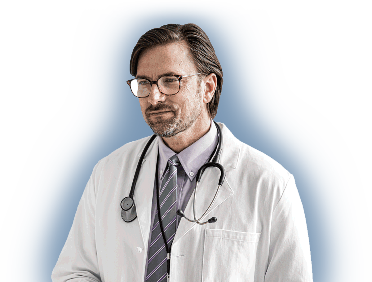 a male doctor with glasses wearing a white coat with a stethoscope, financial piece of mind for doctors